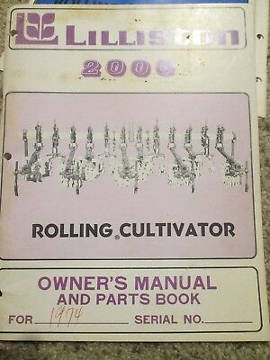 Lilliston 2000 Rolling Cultivator Owner's Manual 1974