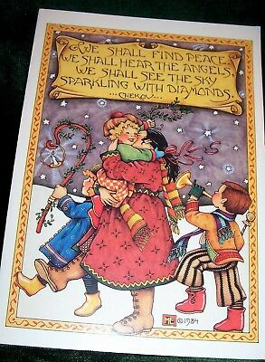 MARY ENGELBREIT 1984 Vtg LARGE CHRISTMAS Card+Envelope