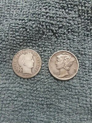 Lot of 2 dimes 1911 barber and 1943 mercury 90% junk silver .20 face value