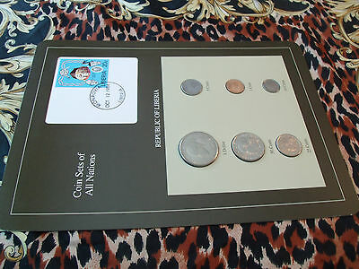 Coin Sets of All Nations Liberia 1968 - 1984 UNC Mask Stamp 10 cent 1977 not UNC