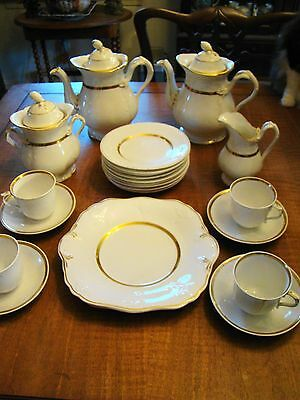 Antique English Porcelain Anchor Mark Twin Pots Coffee Tea Dessert Service 23pcs