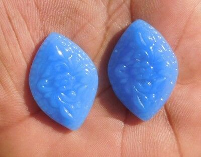 63.1 Cts Natural Graceful Flower Chalcedony Carving Mix  Loose Cab Gemstone