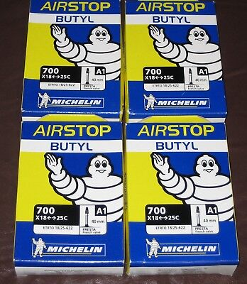 4 Pack of Michelin A1 Airstop Butyl Inner Tubes Short 40mm Presta Valve - BNIB