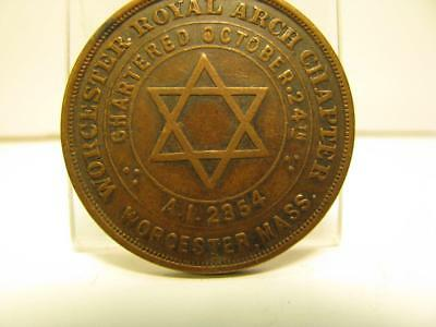 Worcester Ma Masonic Chapter Penny Token Medal