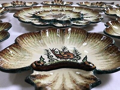 French Quimper Oyster Platter with RARE 12 matching Plates  by P Fouillen c1930