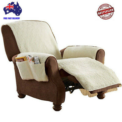 Sobakawa Recliner Cover Snuggle Up  Natural Poly Fleece Remote Control Organizer