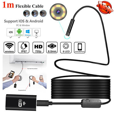 Rigid 1M 8MM WIFI Endoscope Borescope Inspection HD Camera For Android iPhone