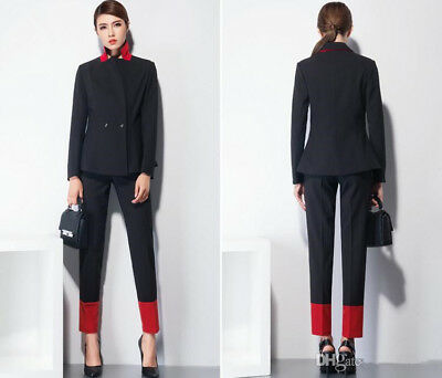 Woman Office Suit Top and Pant Set Black and Red Trouser Slim Fit Office Uniform