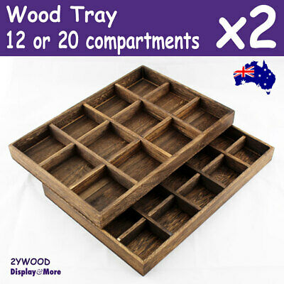 Jewellery Tray | 2pcs | Wood NATURE Style | 12 / 20 Compartments | AUSSIE Seller