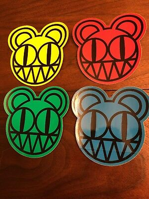 Radiohead Kid A - 4 Promo Stickers, Rare 2000, New, Red Yellow Blue Green