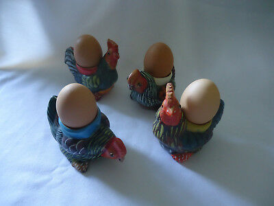 4 Collectable Egg Cups.   Large Colourful Pottery Chicken Shape.