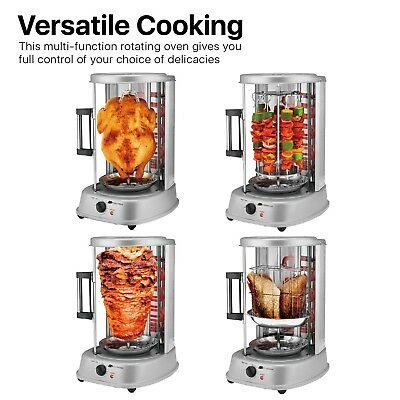 Vertical Electric Rotating Rotisserie Oven Grill Chicken Shawarma Kebab BBQ