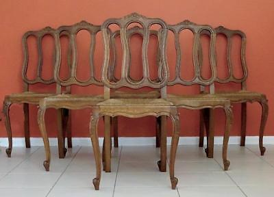 Antique French Louis XV/Provincilal Dining Chairs (Set of 6) c 1930