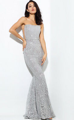 Brand New Formal Prom Red Carpet Sequin Party Silver Maxi Dress Gown Rrp $400