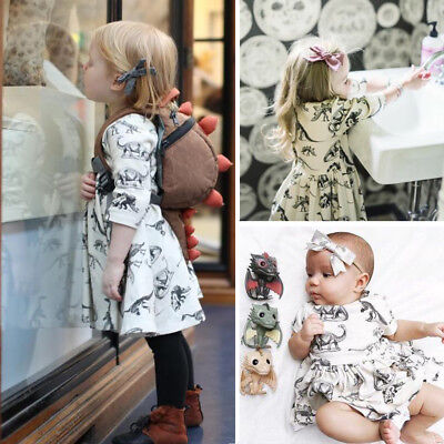 Cute Toddler Infant Baby Girls Animal Half Sleeve Dinosaur Dress Outfits Clothes