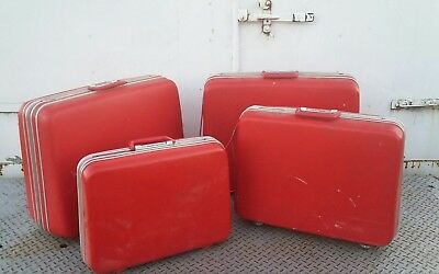 Old suitcase set of 4 red hard shell