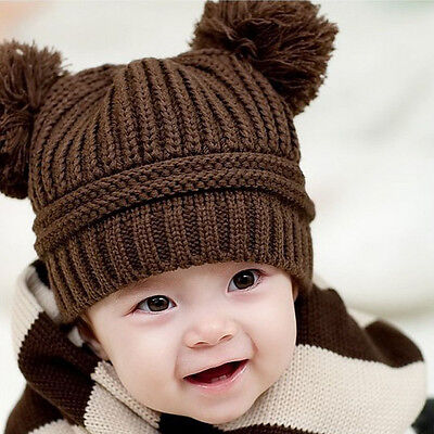 Infant Babys Kids Girls Boys Dual Balls Warm Knitted Cap Beanie Hat Photo Prop