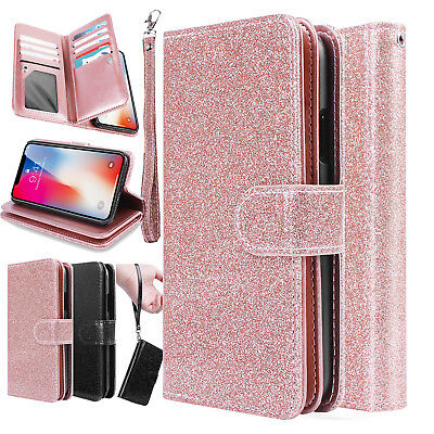 Fr iPhone X 7 8 Plus Magnetic Leather Bling Glitter Wallet Case Flip Cover Stand