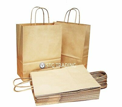Brown Ribbed Twist Handle Gift Paper Carrier Bag / Bags All Sizes