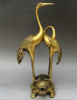 Chinese brass copper Two cranes stand on the dragon tortoise statues