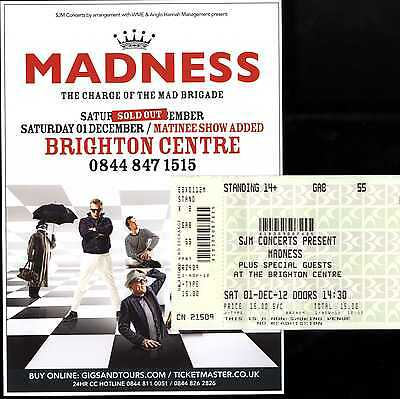 Madness - Ticket + Flyer For Brighton 2012 Matinee Gig - Suggs Ska Two 2 Tone
