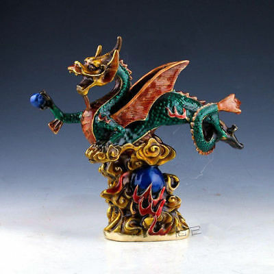 CHINA Rare Cloisonne Handwork FENGSHUI LUCKY FLYING DRAGON STATUE