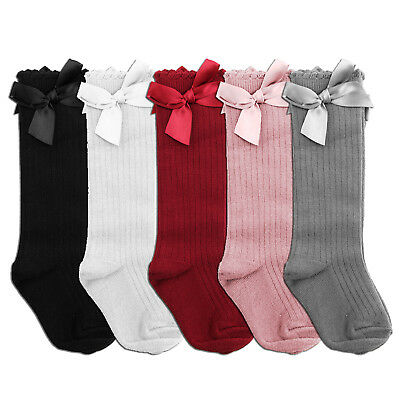 NEW 5 Colurs Spanish Romany Style Baby Girls Bow Knee High Socks Satin