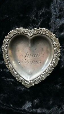 Antique Victorian Annie 1843-1893 Memorial Mourning Silver Plate Trinket Tray