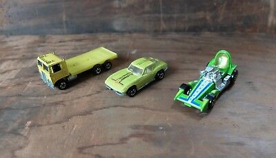 Vintage Hot Wheels 1970s including Corvette 1978, French truck and Bubble Gunner