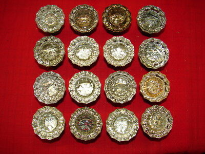 16 Vintage Glass 12 Point With Star Center Door Knobs W? Brass Backs