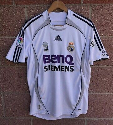 43db96375 2006 07 Adidas REAL MADRID FC SOCCER JERSEY MENS S BENQ SIEMENS FOOTBALL  Small