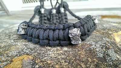 Archery Bow Sling 550 Paracord Black with Ninja skulls + 3 zipper pulls