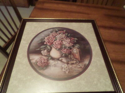 Home Interior Homco Rose Tapistry By Jan Anderson 22 1/2 X 22 1/2
