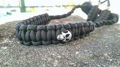 Archery Bow Sling 550 Paracord Black with skulls + 3 zipper pulls