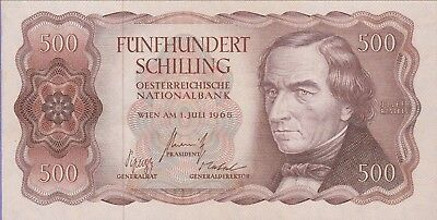 Austria,500 Shilling Banknote,1.7.1965 Choice Extra Fine Condition Cat#139-A-387
