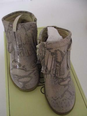 Old Soles Metallic Gold Fringe Leather Booties Baby and Toddler Girls NIB