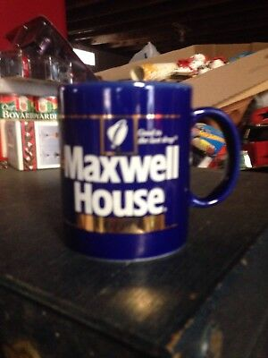 Vintage MAXWELL HOUSE Coffee Reusable Plastic Travel Mug Cup with Lid AND Base