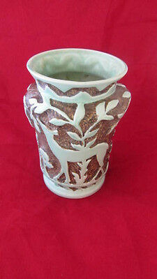 Burleigh Ware Burgess & Leigh Deer Vase Art Deco Fab Colour.