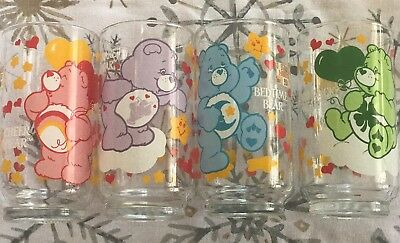 Lot of 4 1984 Bedtime Cheer Good Luck Share Care Bears Glass American Greeting