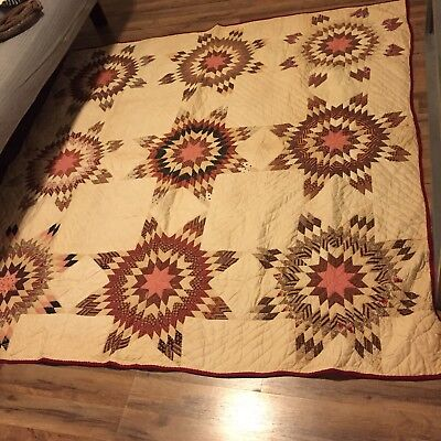 Rare 1890's Hand Stitched Quilt Touching Stars beautiful!!