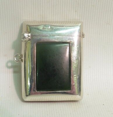 Silver Greenstone Vesta By Clark And Sewell, Hallmarked Chester 1906
