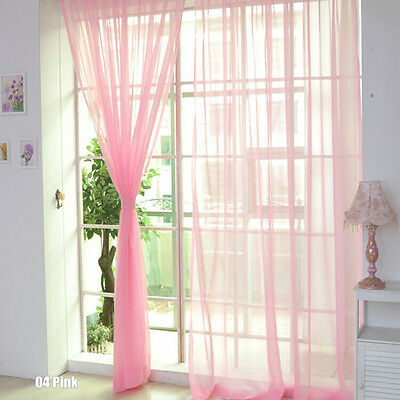 Floral Voile Curtain Door Window Curtain Panel Sheer Valances Scarf Pink  ZXC
