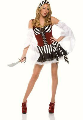 Womens Sexy Pirate Shipmate outfit fancy dress costume  M L 10 12 Sea Buccaneer