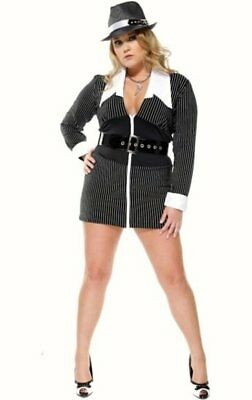 Womens Sexy Gangster Moll outfit Pinstripe fancy dress costume mafia 14 16  sc 1 st  PicClick UK & WOMENS SEXY GANGSTER Moll outfit Pinstripe fancy dress costume mafia ...