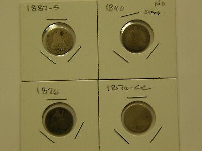 Circulated Lot (4) Different Seated Liberty Dimes 1840 1876Cc 1876 1887S
