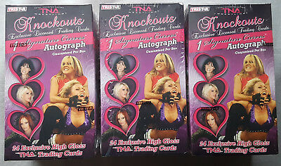 3x 2009 Tristar TNA Knockouts Wrestling Blaster Box 1 Hit per Box