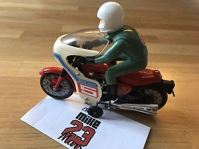 Vintage Racing Motorcycle Toy Battery Operated Japan Tin Plate Very Rare