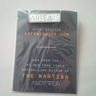 """Promotional pin for Andy Weir's new book """"Artemis"""""""
