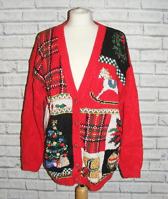 ugly christmas jumper cardigan vintage UK 22-24 embroidered cable knit red IN34