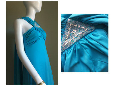 VINTAGE 70s Turquoise EMBELLISHED Glamorous DRESS - Cocktail CHRISTMAS Vtg - 10
